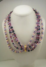 "Joan Rivers 72"" Multi Use Lariat Faux Pearl and Glass Bead Torsade Necklace"