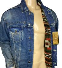 ZARA MAN Denim Jacket Studded Distressed Western Aztec Lined Men Sz M NWT