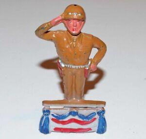 Vintage Barclay Manoil Toy Soldier - Saluting 4-Star General on Platform