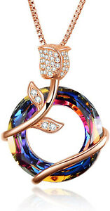 Women Fashion Rose Gold Rose Flower Rainbow Zircon Pendant Necklace Jewelry