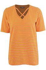 Señoras Mujer Cuello en V frontal Correas Cruzadas holgados Rihanna Rayas Elástico Camiseta