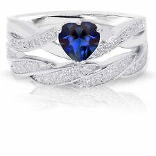 Infinity Celtic Blue Sapphire Heart Engagement Wedding Sterling Silver Ring Set
