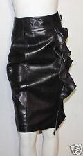 Yves Saint Laurent brown leather ruffle skirt 36 YSL