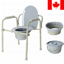 LIVINGbasics® Folding Commode Chair Fixed Arm Steel Back Bar Up to 300 lbs