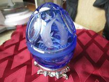 Faberge Egg Crystal Caspian Caviar Server Cobalt Blue