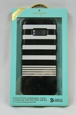 Kate Spade Snap Cover Case Samsung Galaxy S8+ Plus Stripe 2 Gold/Black/Cream NEW