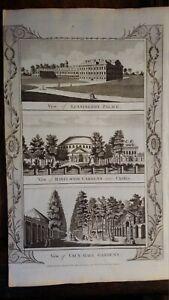 1784 ANTIQUE COPPER ENGRAVING KENSINGTON PALACE RAINLAGH & VAUXHALL GARDENS