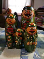 Russian Mockba Kjb / Soldiers/ Military Nesting Dolls Hand Made In Russia 1993