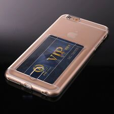 For iPhone 6+ / 6S+ Plus - CLEAR CREDIT CARD SLOT HOLDER COVER TPU RUBBER CASE