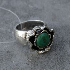 925 Sterling Silver Natural Turquoise Gemstone Stackable Vintage Fashion Ring