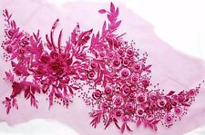 Large 3D Pink Sequined Floral Embroidery Applique Motif Lace Sewing Trim EB0280
