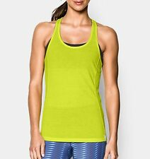 NEW UNDER ARMOUR HEAT GEAR Women's Fly-By Stretch Mesh Tank yellow rrp $39 L XL