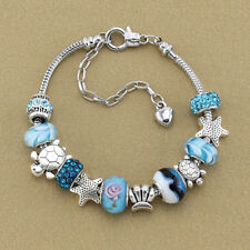 Women Jewelry Ocean Shell Blue Glass Beads Crystal Chains Bangle Bracelets Gifts