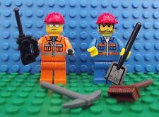 2 x Lego NUOVO MINI PERSONAGGI Workman Strada Manutenzione 4 accessori città