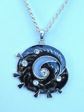 """Large Black Enamel & Diamante Silver Tone Pendent and 24"""" Chain"""