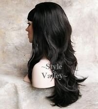 Brown Black 3/4 Fall Hair Piece Wavy ends Long Half Wig Hairpiece #2