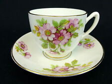 Duchess Cup and Saucer England Bone China Gold Trim Floral Pink Rose Wild Flower