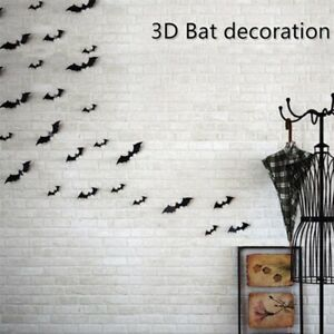 12pcs Halloween 3D Black Bat Wall Stickers Halloween Party