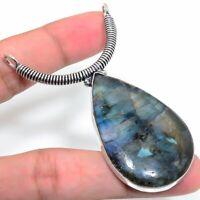 "Wedding Gift Labradorite Gemstone Handmade Ethnic Jewelry Pendant 2.17"" VJ-11845"
