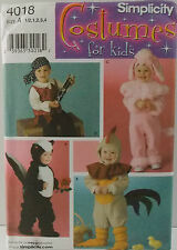 Simplicity Pattern #4018 Pirate Poodle Skunk Rooster Costumes SZ (½-1-2-3-4)