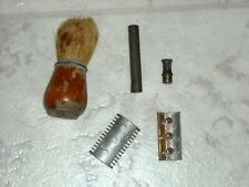 Antique German Safety Razor and Brush Vintage 1930s 1940s Shaving Collectibles