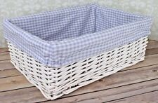 White Wicker Basket & BLUE GINGHAM Lining - Nursery Storage Gift Hamper - 35cm