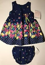 Bonnie Jean Girls Navy Butterfly Dress 12M