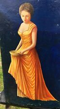 Oil Painting on Canvas Lady in Orange Dress