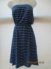 SIZE 8 ROYAL BLUE & WHITE STRIPED BANDEAU STYLE DRESS NEW WITHOUT TAGS