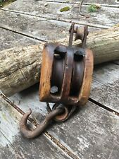 Antique Barn Wooden Double Block and Tackle With large Hook.......