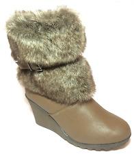 """Chocomout Brown Fur Winter Boot 3"""" Wedge Heel Inside Zip UK 6.5 EU 40 JS29 87"""