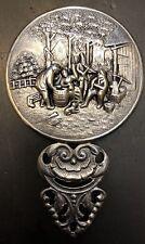 Small Vintage Hans Jensen Hand Held Silver Metal  Figural Mirror Denmark