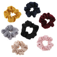 Silk Feel Solid Hair Scrunchies Bow Elastic Hair Band Soft Bobble Hair Ties