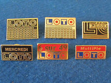 Lot of 6 Enamel French Badges - Loto - Lottery