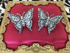 Tarina Tarantino Vintage Electric Baby Blue Butterfly Swarovski AB Earrings RARE