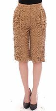 NWT $1200 DOLCE & GABBANA Beige Wool Paisley Pattern Runway Shorts Pant IT40 US6