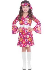 Child 60s Retro Gogo Fancy Dress Costume 70s Flower Power Hippy Hippie Girls