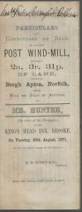 PARTICULARS OF SALE CAPITAL POST WIND-MILL  BERGH APTON NORFOLK 1871