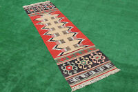 Turkish Kilim Rug 31''x113'' Oushak Runner Kilim Corridor Kilim Hallway Rug Wool