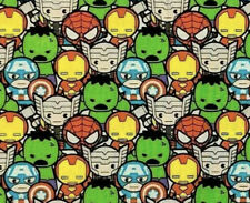 Marvel Comics Kawaii Stacked Avengers Superheroes Quilting Cotton Fabric