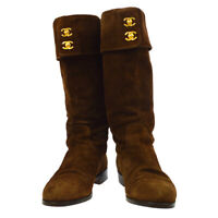 CHANEL CC Logos Boots Shoes Brown Suede Italy #37 Vintage AK31930g