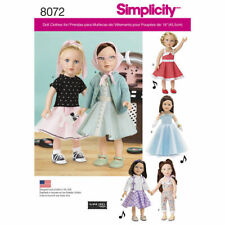 "New Simplicity 8072 Sewing Pattern for Retro  Girl 18"" Doll Clothing 6 outfits"