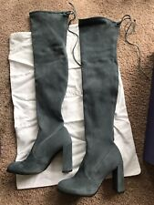 Stuart Weitzman NEW Hiline Denim Dusty Blue Suede Over The Knee Boots Size 5.5 M