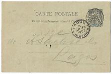 Dahomey France 1902 stationery card  to Lagos