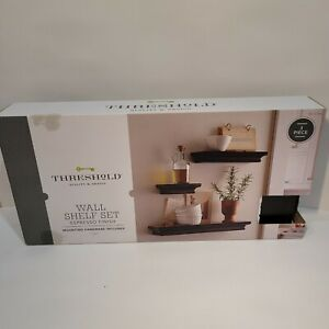 Threshold Quality & Design Espresso Wall Shelf Set.  Set of 3 New In Box