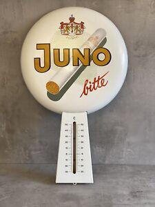 Historisches Reklame Emailschild Juno Bitte Josetti mit Thermometer Deko Schikld