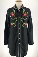 Pink Cattlelac Large Snap Front Shirt Dress Rockabilly Black Floral Embroidery