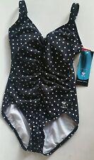 TYR Durafast Stretch Atlantic Dot Black & White 1 Piece Swimsuit Sz 8 NEW NWT