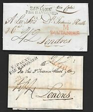 Spain covers 1823/24 2 folded letters Cadiz+Santander to London