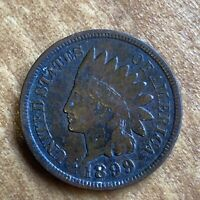 FREE SHIP! VF 1899 Indian Head Cent - 120+ Year Old Penny - US Type Set Coin L1